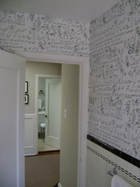painters toronto image sample of wallpapered bathroom