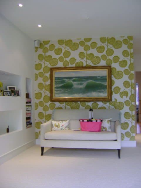 painters toronto image sample wallpapered feature wall